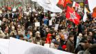 Opposition supporters hold a rally in central Moscow  demanding the release of anti-government activists. Photograph: Sergei Karpukhin/Reuters