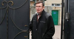 Ukraine's former interior minister Yuri Lutsenko leaves prison yesterday in Makoshino