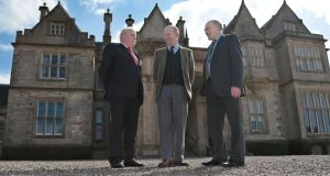 British Ambassador to Ireland  Dominick Chilcott (centre) with Muckross House trustees Maurice O'Keefe (left) and Michael Larkin at the house in Killarney, Co Kerry. Photograph: Valerie O'Sullivan