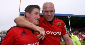 Old comrades: Munster's Ronan O'Gara and Paul O'Connell celebrate at the Stoop