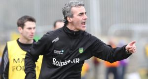 Donegal manager Jim McGuinness on the sideline at Ballybofey. Photograph: Donna McBride/Inpho/Presseye