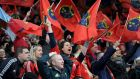 Munster fans celebrate during the Heineken Cup, Quarter Final match at Twickenham Stoop. Photograph: Tim Ireland/PA Wire