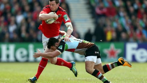 Dennis Hurley is tackled by Harlequins George LowePhotograph: David Davies/PA Wire