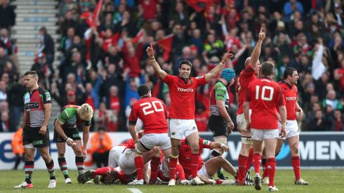 Munster's Conor Murray (centre) celebrates their victory over Harlequins during yesterday's Heineken Cup, Quarter Final match at Twickenham Stoop, London. Photograph: David Davies/PA Wire