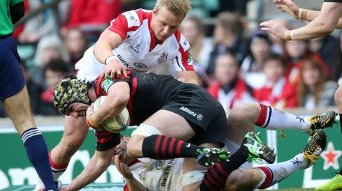 Saracen's Kelly Brown tackled by Ulster's Luke Marshall.  Photograph: INPHO/Billy Stickland