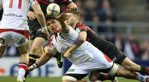 Ulster's Nick Williams tackled by Saracen's Richard Wigglesworth.  Photograph: INPHO/Billy Stickland