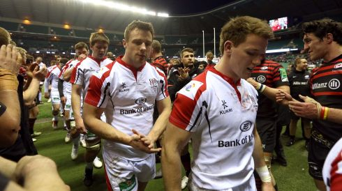 Ulster's Iain Henderson, Tommy Bowe and Craig Gilroy after losing the match. Photograph: INPHO/Billy Stickland