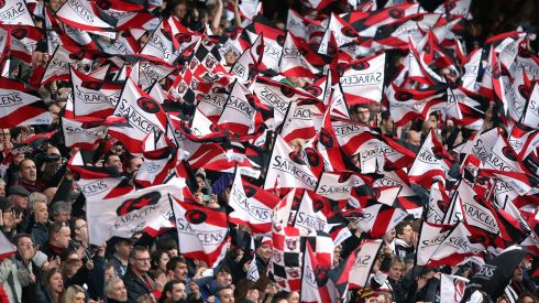 Saracens fans celebrate Photograph: INPHO/Billy Stickland