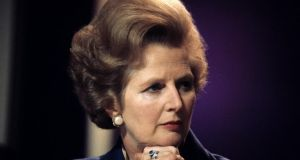 An image from October 1977 of then leader of the British Conservative Party Margaret Thatcher, who has died this morning of a stroke. Photograph: PA Wire