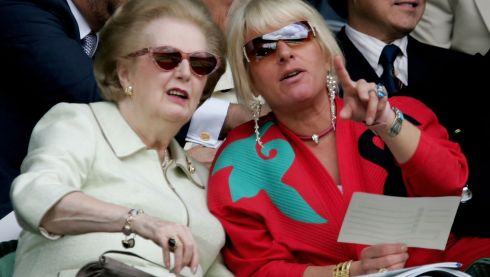 Margaret Thatcher and daughter Carol watch the women's final at Wimbledon in 2006. Photograph: Phil Cole/Getty Images