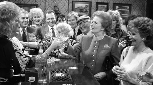Thatcher toasting Julie Goodyear and the cast of Coronation Street when she visited the Rovers Return at Granada Television Studios in 1990. Photograph: PA Wire