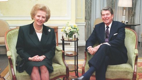 Thatcher with former US president Ronald Reagan. Photograph: Fiona Hanson/PA Wire