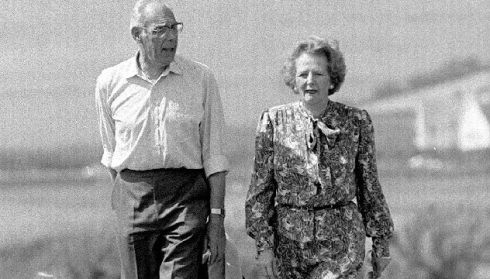 Thatcher and her husband Denis in 1987. Photograph: PA