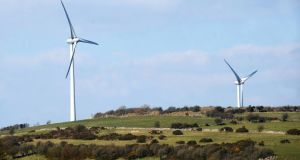 Wind turbines on Scrine Hill outside Roscommon Town. Photograph: Gerard O'Loughlin