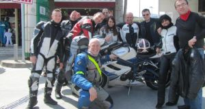 "Peter Murtagh (centre) with ""jolly French bikers""."