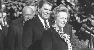 Former British prime minister Margaret Thatcher and and then US president Ronald Reagan are seen at the  White House in February 1985.  Photograph/The New York Times