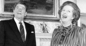 British Prime Minister Margaret Thatcher shares a joke with American President Ronald Reagan, at No. 10 Downing Street, on June 5th 1984. Photograph: Keystone/Getty Images
