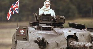 British prime minister Margaret Thatcher in a British tank during a visit to British forces in Fallingbostel, some 120km south of Hamburg, Germany, in 1986. Photograph: Jockel Fink/AP Photo