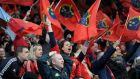 "Munster fans celebrate their Heineken Cup win over Harlequins. ""I couldn't believe how many Munster people were there,"" said hooker Mike Sherry afterwards."