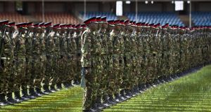 Members of the Kenyan military rehearsing for the presidential inauguration which is due to take place today. Photograph: Ben Curtis/AP Photo