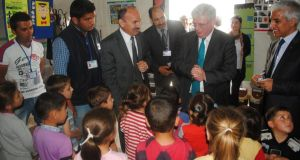 Mr Gilmore visiting the Nazip camp near the city of Gaziantep, close to the Syrian border, yesterday
