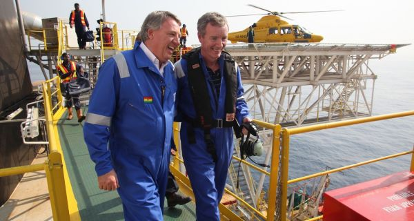 Tullow Oil director Keith Mutimer and chief executive Aidan Heavey at Tullow's FPSO facility.