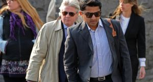 Praveen Halappanavar arriving today at the inquest into the death of his wife Savita. Photograph: Eric Luke / The Irish Times