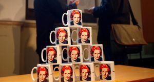 A display of mugs depicting late former British prime minister Margaret Thatcher today in a museum in Grantham, central England. Photograph: Darren Staples/Reuters