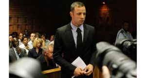 Oscar Pistorius in court today on the second day of his bail hearing.