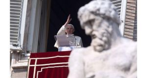 Pope Benedict XVI delivers his Angelus Blessing from the window of his private studio overlooking St Peter's Square last Sunday. Photograph: Franco Origlia/Getty Images