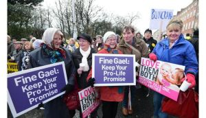 Helen Hoban, Mary Murray, Winifred O'Brien, Tom Folliard and Veronica Freyn from Ballyhaunis at a large Pro Life demonstration Unite for Life Vigil which filled Merrion Square South in Dublin in January. Photograph: Alan Betson/The Irish Times