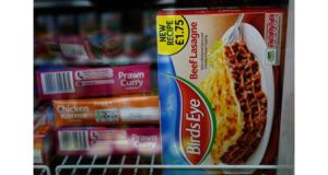 A package of Birds Eye Beef Lasagne 400g is displayed in the freezer of a convenience store in London. Photograph: Luke MacGregor/Reuters