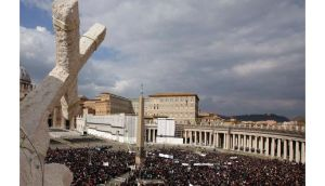Pope Benedict XVI waves to an audience in Saint Peter's square, at the Vatican in a file photograph from last October. Photograph: Reuters