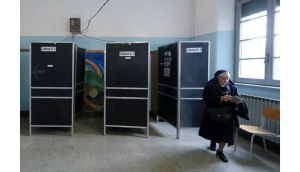 A nun casts her vote in a polling station in Rome yesterday in one of the most closely watched elections in years. Photograph: Yara Nardi/Reuters