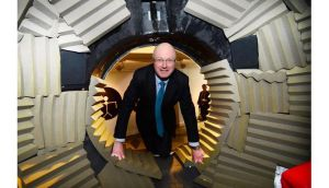 Science Foundation Ireland director general Professor Mark Ferguson in `Mouth Tank?, an acoustic installation by Michael Hanna at the Science Gallery Dublin today.  Photograph: Bryan O'Brien/The Irish Times