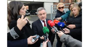 Minister for Public Expenditure and Reform Brendan Howlin speaks to the media after the talks concluded yesterday morning. Photograph: Dara Mac Donaill/The Irish Times