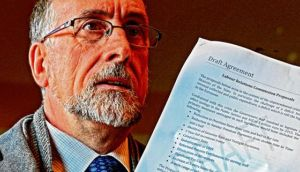 Shay Cody, chairman of Ictu Public Services Committee, with the draft agreement following talks on an extension to the Croke Park agreement this week. Photograph: Eric Luke/The Irish Times