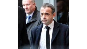 Coronation Street actor Michael Le Vell leaves Manchester Magistrates Court where he today made his first court appearance accused of child sex offences. Photograph: Peter Byrne/PA Wire.