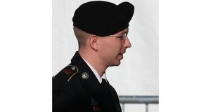 US army Pte Bradley Manning arrives for his hearing in November 2012 at Fort Meade, Maryland, in which he is charged with aiding the enemy and wrongfully causing intelligence to be published on the internet. Photograph: Mark Wilson/Getty Images