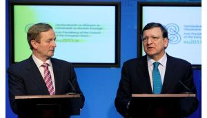 Taoiseach Enda Kenny and European Commission president Jose Manuel Barroso at a press conference in Government Buildings. Photograph: Julien Behal/PA Wire