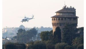 A helicopter carrying Pope Benedict XVI lifts off from Vatican City on the way to Castel Gandolfo. Photograph:  Peter Macdiarmid/Getty Images