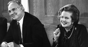 Margaret Thatcher and her German counterpart Helmut Kohl in April 1983. Photograph:   Keystone/Getty Images
