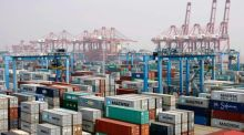 A container area at Ningbo port, Zhejiang province. China saw a forecast-busting 14.1 per cent year on year surge in imports which eclipsed export growth of 10 per cent, signalling that domestic demand was gathering the steam needed to drive economic recovery. Photograph: Reuters