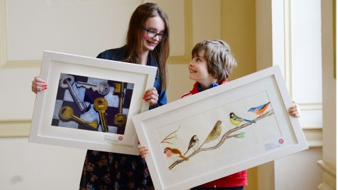 Siblings Grace Dolan (13)  of Holy Faith Clontarf (1st prize in category C , 12-13years) and Nicholas Dolan (9) of Belgrove Senior Boys School Clontarf (2nd prizewinner category D 9-11 years)  at the Hugh lane Gallery Dublin. Photograph: Bryan O'Brien/The Irish Times