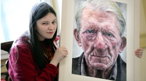 Shania McDonagh a pupil of Mount St Michael Secondary School Claremorris, Co. Mayo winner of Category B (14-15 years) with her portrait 'Denis' at the Hugh lane Gallery Dublin. Photograph: Bryan O'Brien/The Irish Times
