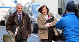 Tony Canavan, chief operating officer, Galway and Roscommon Hospital Group, and consultant obstetrician Dr Katherine Astbury arriving at the inquest into the death of Savita Halappanavar in Galway today. Photograph: Eric Luke/The Irish Times