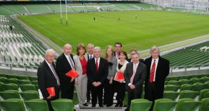 "Labour leader Eamon Gilmore  at the launch of its 2011 election manifesto at the Aviva Stadium. Labour ""needs to refute the nonsense that it has broken its promises. It hasn't, or at least none that matter."""