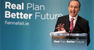 Fianna Fáil leader Micheál Martin at the launch of the party's election manifesto in 2011.  Photograph: Dara Mac Dónaill