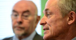 Minister for Education and Skills Ruairi Quinn and Minister for Jobs Richard Bruton at an announcement in Dublin of a plan to provide an extra 2,000 ICT graduates.  Photograph: Bryan O'Brien/The Irish Times