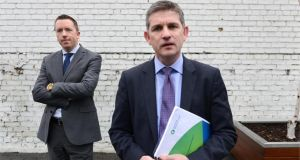Prof John McHale, chairman of the Irish Fiscal Advisory Council (right), with chief economist Diarmaid Smyth at a briefing on fourth Fiscal Assessment Report, at Whitaker Square, Dublin, yesterday. Photographer: Dara Mac Dónaill